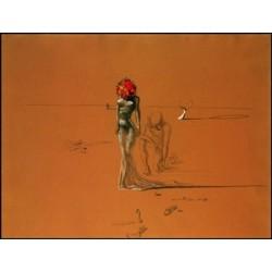 """Affiche - """"Femme à la tête de fleur"""""""