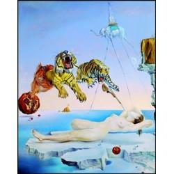"""Affiche - """"Rêve causé par le vol d'une abeille autour d'une grenade, une seconde avant l'éveil"""""""